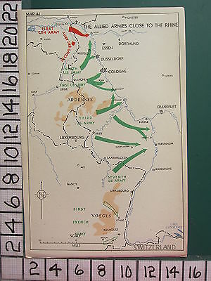 Ww2 Map ~ Allied Armies Close To The Rhine Ardennes Luxembourg Us Canadian