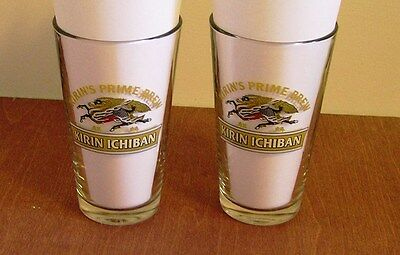 2 KIRIN ICHIBAN Beer Glasses 16 oz Prime Brew Japanese Beer Malt Draft Pint  New