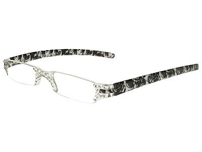 """""""Quartet"""" Black/White Floral Ladies Reading Glasses by Good Lookers GL2157GRY"""