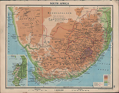 1939 Map South Africa Cape Province Transvaal Orange Free State Natal Cape Town