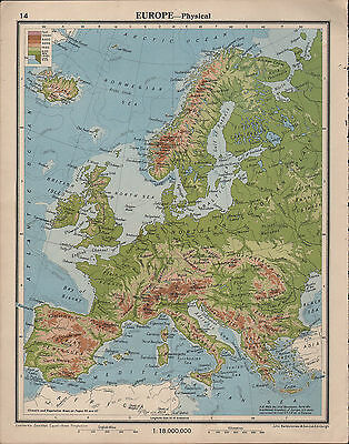 1939 Map ~ Europe Physical Land Heights British Isles Spain Scandinavia Alps