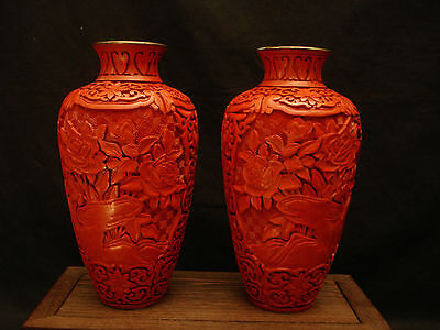 "8"" H Vintage Chinese Cinnabar Lacquered  Wood Mirror Pair Vase"