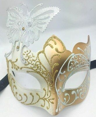 White/Gold Glitter Butterfly Women Party Mask Masquerade Mask Halloween Mask