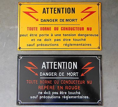 2VINTAGE FRENCH ENAMEL PORCELAIN STEEL SIGN PLAQUE Electricity warning