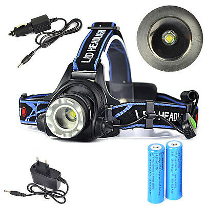 5000Lm XML T6 LED Phare Zoomable Lampe Frontale 3-Mod Headlamp 18650 EU Chargeur