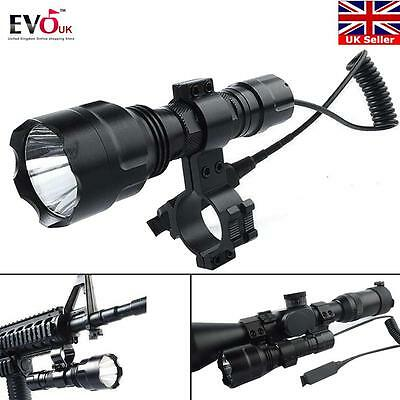 Tactical C8 Q5 800 LM3 Modes Torch FOR AIR RIFLE/RIMFIRE HUNTING LAMP/LIGHT