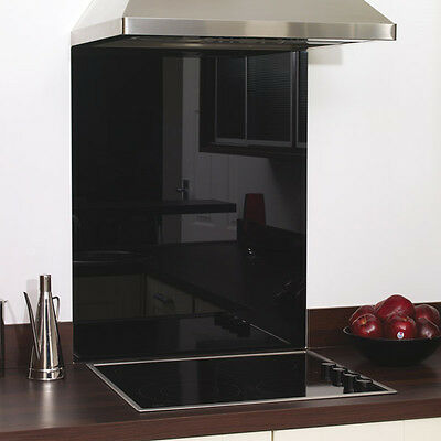 Black Glass Splashback Heat Resistant - Toughened 600 x 700mm, 60 x 70cm
