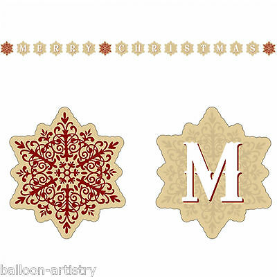 2.2m Merry Christmas Party Shimmering Snowflakes Peg Card Holder Decoration