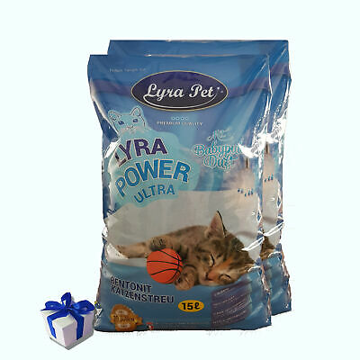 30 Liter Lyra Pet Cats Power ULTRA excellent Katzenstreu Babypuderduft +Geschenk