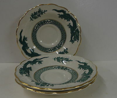 "Booths DRAGON GREEN 3 Saucers SET 5-1/4"" SCALLOPED GOLD blue-green"