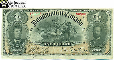 "VF+ Dominion of Canada 1898 $1 Note ""Ones Out"" Series ""K"" Serial Number 180862"