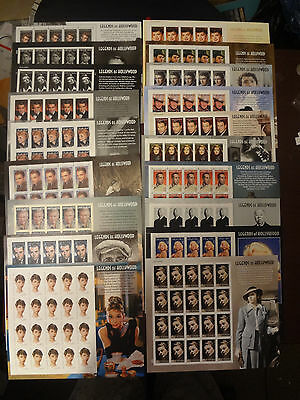 Beautiful!! A Complete Set Of 19 Us Legends Of Hollywood Stamp Sheets