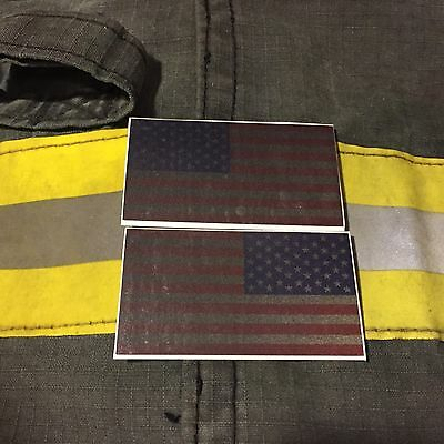 "Reflective Subdued American Flags RWB Mirrored 3""- FIREFIGHTER HELMET STICKER"