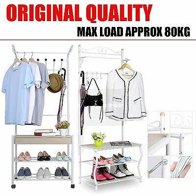 Metal Hat and Coat Clothes Shoes Hall Steel Pipe Stands Stand Rack Hangers Shelf