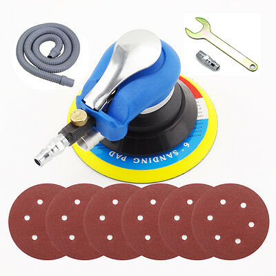"Air Random Orbital Palm Sander 6"" 150mm Dual Action Vacuum Hose +6 Sandpaper"