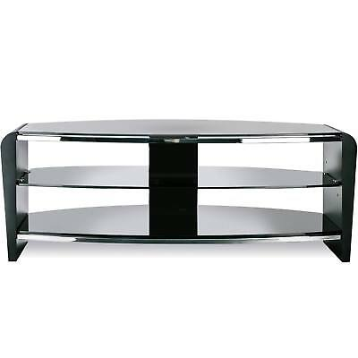 Alphason Francium 1100 Black Wood & Glass TV Stand Fits Up to 50inch TVs