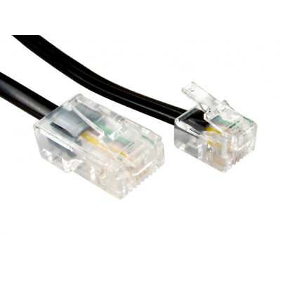 1m RJ11 to RJ45 Ethernet Telephone Cable White 8P4C 6P4C ASDL Patch Lead BLACK