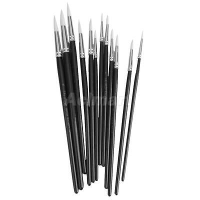 12 Black POINTED ARTIST BRUSH SET Small/Large Art Paint Brushes Thin/Thick