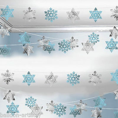 100ft Christmas Party Foil Frozen Snowflakes Hanging Cutout String Decoration