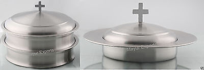 2 Stainless Steel Communion Tray & 1 Bread Plate with Lid Matte  RELIGIOUS EDH