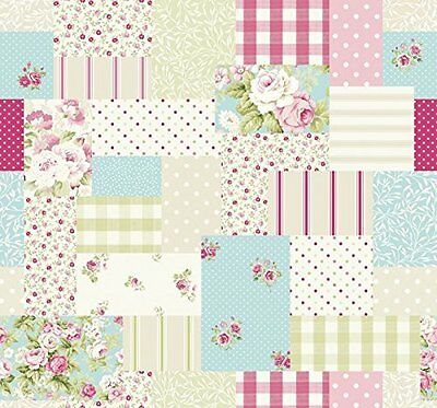 Fryetts PATCHWORK DUCKEGG Cotton PVC Fabric WIPE CLEAN Tablecloth Oilcloth
