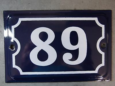 Antique French Dark Blue Enamel Porcelain Door House Gate Number Sign Plate 89