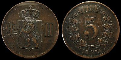 1876 Norway Five 5 Ore Large Copper Coin VF+ Very Fine