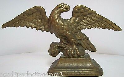 Antique Cast Iron Eagle Doorstop original old gold paint spread winged figural