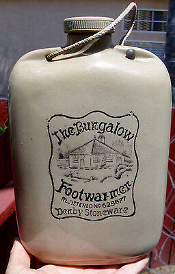 "Antique,SCARCE 1920's  transfer advertized ""Bungalow"" Denby Stoneware footwarmer"