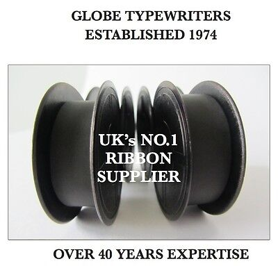 2 x SILVER REED 'SR100' *BLACK* TOP QUALITY *10M* TYPEWRITER RIBBONS + *EYELETS*