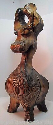 Vintage Large Witco Tiki Dog big figural art carved statue mid century detailed