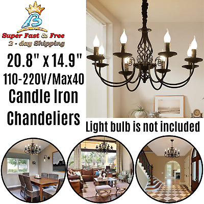 Antique Wrought Iron Chandelier Home Vintage Interior Gothic Decor Candle Holder