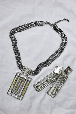 Art Deco VINTAGE COSTUME Geometric Crystal Necklace and Earring Set