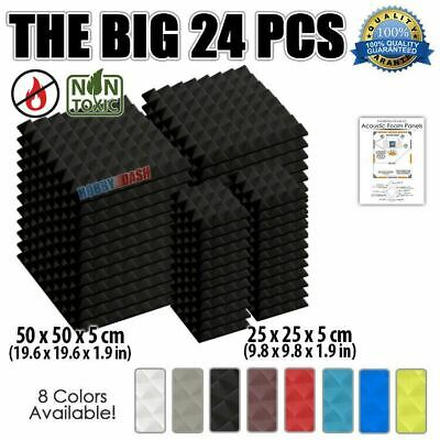 New 24pcs Set Acoustic Soundproof Foam Pyramid Tiles Studio Treatment KK1034