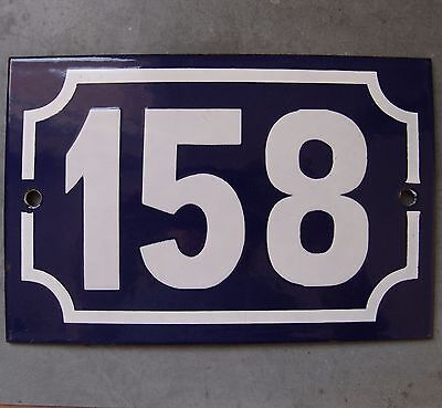 Antique French Enamel Steel Door House Street Gate Number Sign Plaque 158