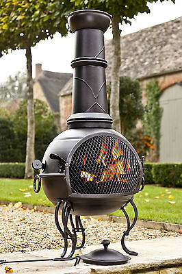 (free outdoor cover) BLACK STEEL 107CM CHIMINEA CHIMENEA HEATER AND GRILL