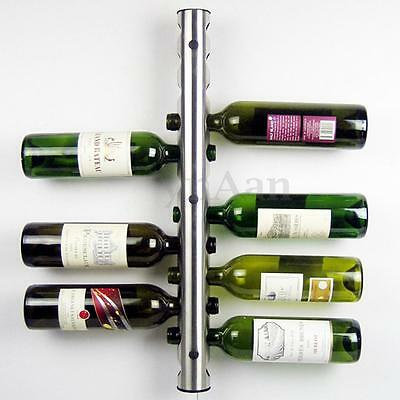 Stainless Steel 12 8 Bottle Wine Rack Bar Kitchen Wall Mounted Holder Silver