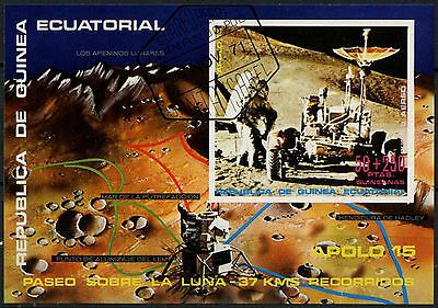 Equatorial Guinea 1970's Space Apollo 15 Cto Used Imperf M/S #A92615