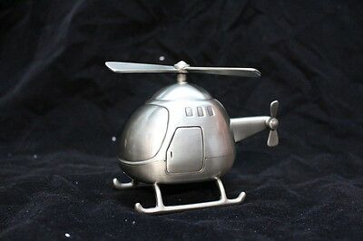 Pewter Helicopter Money Box Birth Born Baby Shower Gift Christening NEW
