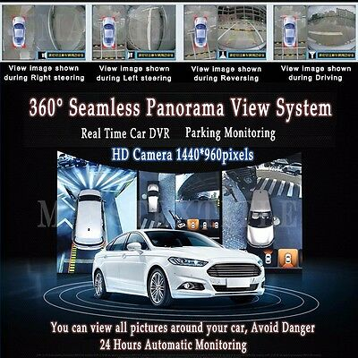 Car Seamless 360° Panoramic Birdview Camera System Rear Front Back Side view DVR