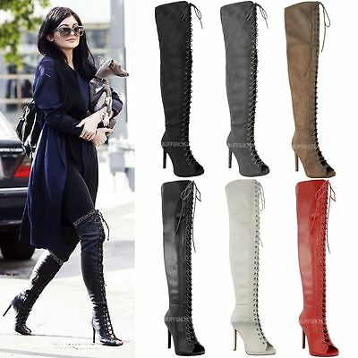 Womens Ladies Thigh High Over The Knee Platform Lace Up Boots Stiletto Heel Size