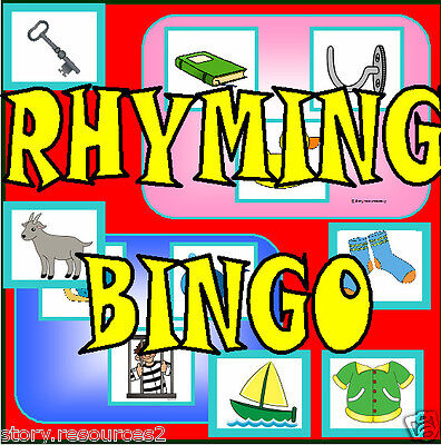 RHYMING BINGO -  LETTERS AND SOUNDS PHASE 1 LITERACY KS1 EYFS CHILDMINDER  On CD