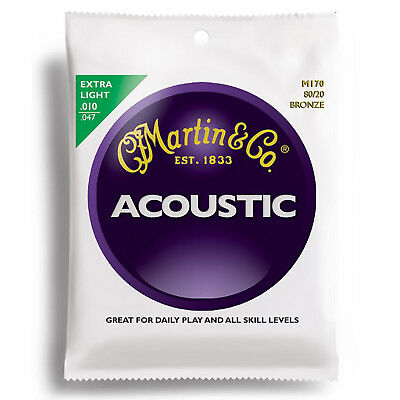 Martin M170 80/20 Bronze Acoustic Guitar Strings, Extra Light + Free Shipping