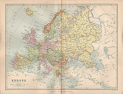 1897 VICTORIAN MAP ~ EUROPE ~ SPAIN FRANCE ITALY BRITISH ISLES NORWAY etc