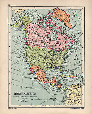1934 Map ~ North America ~ Canada United States Mexico Cuba Jamaica Antilles