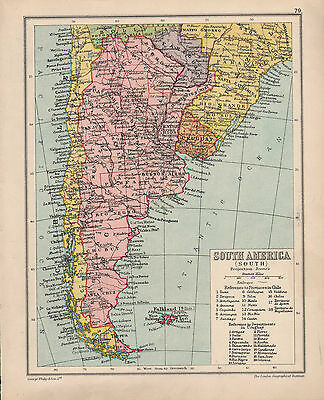1934 Map ~ Southern South America ~ Provinces Of Chile Departments Uruguay