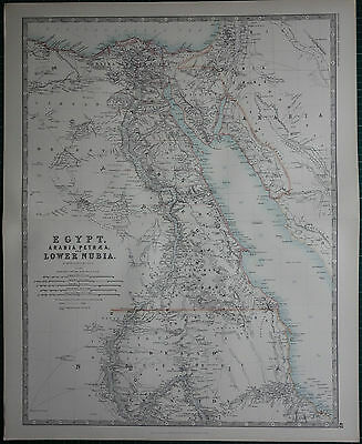 1887 Large Victorian Map ~ Egypt Arabia Petraea Lower Nubia ~