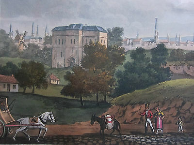 1815 BATTLE of WATERLOO HAND COLOURED PRINT DATED 1816 Brussels Foret de Soigne
