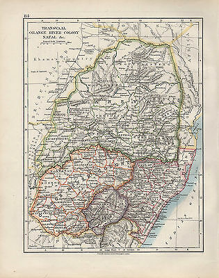 1909 VICTORIAN MAP ~ AFRICA ~ TRANSVAAL ORANGE RIVER COLONY NATAL etc