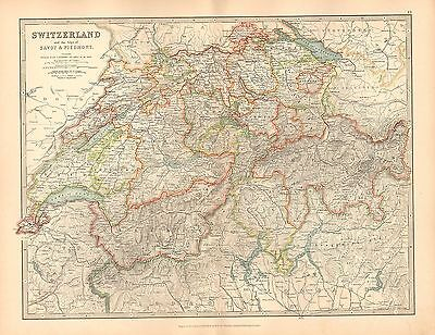 1911 Large Victorian Map ~ Switzerland Alps Of Savoy & Piedmont ~ Zurich Grison